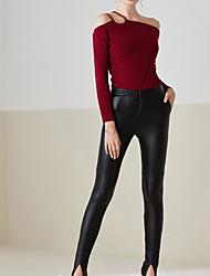 Feminino Skinny Jeans Calças-Cor Única Casual Simples Cintura Média Elasticidade PU Micro-Elástico Outono / Com Molas