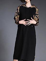Women's Casual/Daily Simple Loose Dress,Floral Hooded Knee-length Long Sleeve Black Cotton Fall Mid Rise Micro-elastic Medium