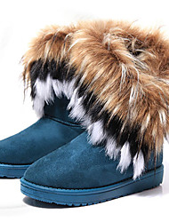 Women's Boots Fall / Winter Comfort Fur Outdoor / Casual Flat Heel Feather / Fur Black / Blue / Brown Walking