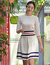 I LOVE KNITTING Women's Casual/Daily Simple Fall T-shirt Skirt SuitsStriped Round Neck Long Sleeve White Wool / Cotton