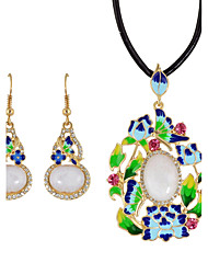 Fashion Colorful Rhinestone Flower Necklace Earrings Set