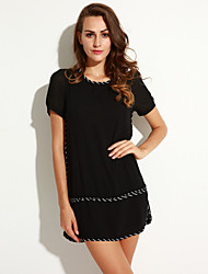 Women's Plus Size Street chic Loose Dress,Print Round Neck Above Knee Short Sleeve Black Polyester Summer / Fall
