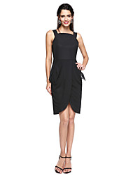 TS Couture Cocktail Party Dress - Celebrity Style Furcal Little Black Dress Sheath / Column Straps Knee-length Chiffon