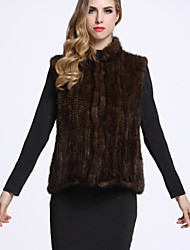 BF-Fur Style Women's Casual/Daily Sophisticated Fur CoatSolid Stand Sleeveless Winter Black / Brown Others