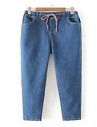 Women's Straight Jeans Pants,Casual/Daily Simple Solid High Rise Drawstring Cotton Micro-elastic Fall