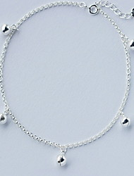 Woman Sterling Silver Small Bell Lobster Clasp Anklet