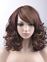 Women Synthetic Wigs Capless Medium Loose Wave Brown Highlighted/Balayage Hair Side Part Bob Haircut With Bangs Natural Wig Halloween