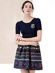 YZXH Women's Casual/Daily Vintage Sheath / Sweater DressEmbroidered Round Neck Above Knee Short Sleeve Blue Cotton / Polyester SpringHigh