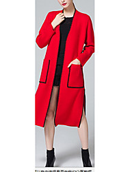 Women's Casual/Daily Simple Coat,Solid V Neck Long Sleeve Pink / Red / Black / Yellow Wool Thin