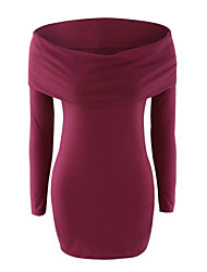 Women's Casual/Daily Vintage Bodycon Dress,Solid Shirt Collar Above Knee Long Sleeve Red / Black / Brown Polyester Fall Mid Rise