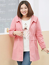 MsShe Women's Plus Size / Casual/Daily Active Trench CoatSolid Hooded Long Sleeve Winter Blue / Pink / Brown / Green / YellowCotton /
