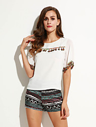 Women's Print White Set,Round Neck Short Sleeve