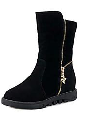 Women's Boots Winter Comfort Leatherette Casual Flat Heel Black Burgundy