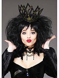 Deluxe ladies black Queen Full Lace Wigs and crown