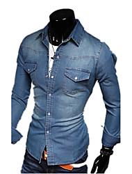 Men's Spring Fall Denim Jacket Shirt Collar Long Sleeve