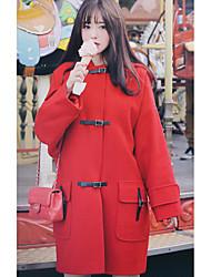 Женский На выход / На каждый день Однотонный Пальто Капюшон,Винтаж / Уличный стиль Зима Красный Длинный рукав,Полиэстер,Толстая