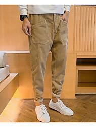 Masculino Skinny Chinos Calças-Cor Única Casual Simples Cintura Média Zíper Poliéster Micro-Elástico Outono