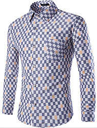 Men's Casual/Daily Simple Shirt,Plaid Square Neck Long Sleeve Blue / White Cotton