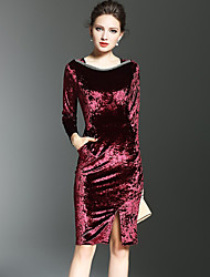 Women's Formal / Party/Cocktail Sexy A Line Dress,Solid Square Neck Knee-length Long Sleeve Red Polyester Fall / Winter Mid Rise