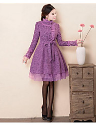 Women's Going out / Casual/Daily Cute / Street chic Coat,Solid Stand Long Sleeve Winter Purple Wool Thick