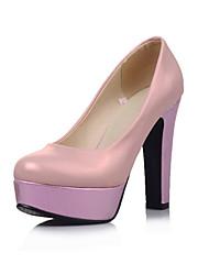 Damen-High Heels-Büro Lässig Kleid-Kunstleder-BlockabsatzGold Silber Rosa