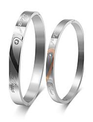 Для пары Браслет разомкнутое кольцо Сталь Дружба Мода По заказу покупателя Бижутерия 1 пара 2 шт.