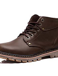 Men's Boots Winter Comfort PU Casual Low Heel Lace-up Black Brown Yellow Others