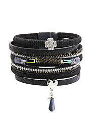 Fashion Women Multi Rows Rhinestone Set Clover Charm Leather Bracelet