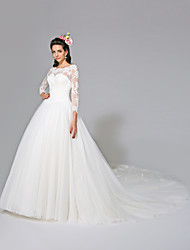 Ball Gown Illusion Neckline Cathedral Train Tulle Wedding Dress with Appliques Button by LAN TING BRIDE®