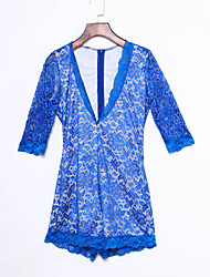 Women's Royal Blue White Illusion Deep V Neck Romper
