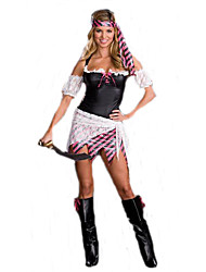 Costumes de Cosplay Pirate Cosplay de Film Noir Couleur Pleine Robe / Coiffure Halloween / Carnaval Féminin Polyester