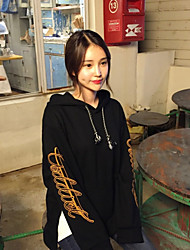 Sign Korean chic Chicken Attractive split sleeve letter hooded cashmere sweater female wide Songane