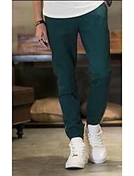 Masculino Solto Chinos Calças-Cor Única Casual Simples Cintura Média Zíper Algodão Micro-Elástico Verão