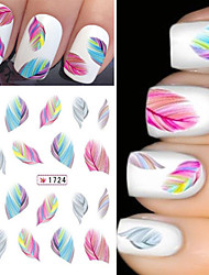 2Sheet Rainbow Colorful Feather Nail Art Sticker Water Transfer Decals Decoration