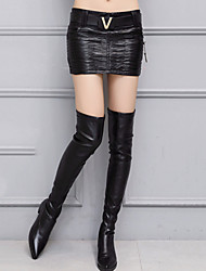 Women's Bodycon Thick Solid SkirtsGoing out Street chic Mid Rise Mini Zipper PU Micro-elastic Winter