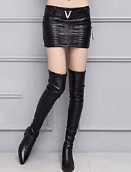 Damen Röcke,Bodycon einfarbigAusgehen Street Schick Mittlere Hüfthöhe Mini Reisverschluss PU Micro-elastisch Winter
