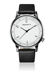 REBIRTH® Unisex Fashion Watch / Wrist watch Quartz / Leather Band Casual Black / White Brand