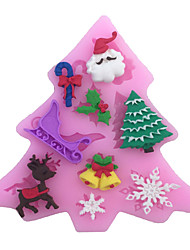 Christmas Tree & Little Deer & Snowflakes & Bells Type Candy Fondant Cake Molds  For The Kitchen Baking Molds