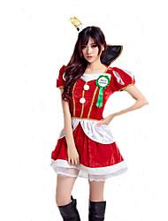 Fantasias de Cosplay Ternos de Papai Noel Cosplay de Filmes Vermelho Cor Única Vestido / Decoração de Cabelo Natal Feminino Poliéster