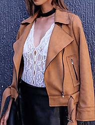 Feminino Jaqueta Casual Simples Outono / Inverno, Sólido Rosa / Marrom / Cinza Poliéster Colarinho de Camisa-Manga Longa Média