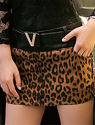 Women's Bodycon Leopard / Patchwork Brown PU Leather Skirts with BeltStreet chic Mini