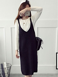 Women's Going out / Casual/Daily / Holiday Simple / Cute / Street chic Sweater Dress,Solid V Neck Midi Sleeveless Red / Brown / Gray