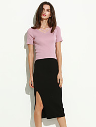Women's Solid Red / Black Skirts , Sexy / Casual Maxi