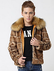 Men's Going out / Casual/Daily Vintage / Street chic Fur Coat,Solid Shirt Collar Long Sleeve Winter Brown Faux Fur Thick