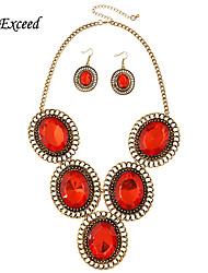 Brand Luxury Elegant Oval Gold Plated Red Resin Jewelry Set Earring and Necklace for Women JS180255-1