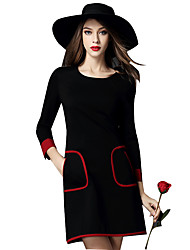 Women's Elegant Popular Round Long Sleeve Slim Above Knee Dress Plus Size