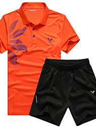 Men's Short Sleeve Running Clothing Sets/Suits Breathable Quick Dry Sweat-wicking Spring Summer Fall/Autumn Winter Sports WearLeisure