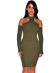 Women's Army Green Knit Ribbed Choker Off Shoulder Dress