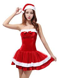 Fantasias de Cosplay Ternos de Papai Noel Cosplay de Filmes Vermelho Cor Única Vestido / Chapéu Natal Feminino Poliéster