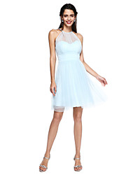 2017 Lanting vestido de dama de honra bride® - mini me uma linha de cabresto curto / mini tule com drapeados / ruching